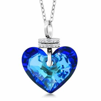 Bermuda Blue Truly In Love Heart Pendant Created with Swarovski® Crystals
