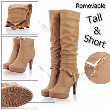 New2015 Winter Knee High Boots Women Motorcycle Boots Two Way Wear High Heels Soft Leather Shoes winter boots = 1946595652