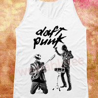 Daft Punk Shirts Electronic Music Shirts Robot Shirts White Tee Shirts Unisex Shirts Vest Women Tank Top Women Shirts Sleeveless Singlet