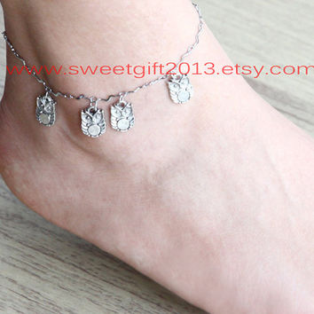 owl anklet, antique silver super cute owl anklet, four owls anklet