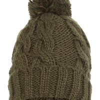 Khaki Turn Up Cable Beanie - Hats & Scarves - Accessories