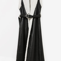 Black Suede Faux Fur Sleeveless Maxi Vest