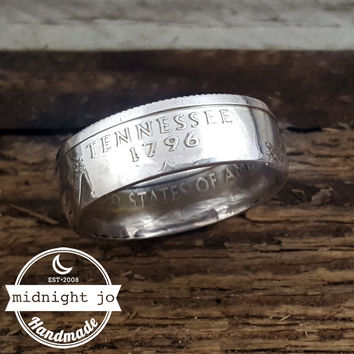 Tennessee 90% Silver State Quarter Coin Ring