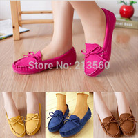 Spring Autumn Comfortable Shoes Women 2015 New Trendy Casual Flat Heel Shoes Bow Knot Round Toe Slip Candy Color Loafer Shoes