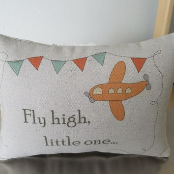 Baby quote pillow airplane throw pillow handmade nursery cushion
