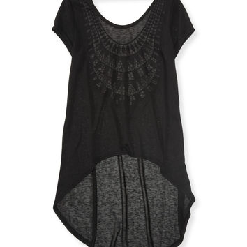 Aeropostale  Sheer Crochet-Back Hi-Lo Tunic - Black