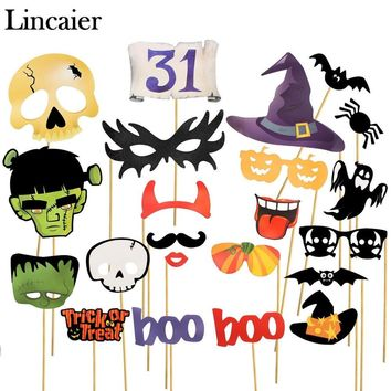 Lincaier Halloween Photobooth Props Horror Decoration for Kids Men Skull Witch Bats Spider Pumpkin Ghost Party Accessories Home
