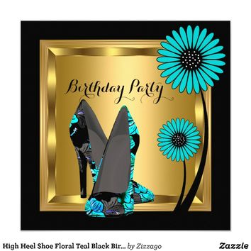 High Heel Shoe Floral Teal Black Birthday Party Personalized Invitations from Zazzle.com