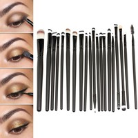 E2shop® 20 Pcs Cosmetic Makeup Brushes Set Eyeshadow Lip Brush for Girls(black)