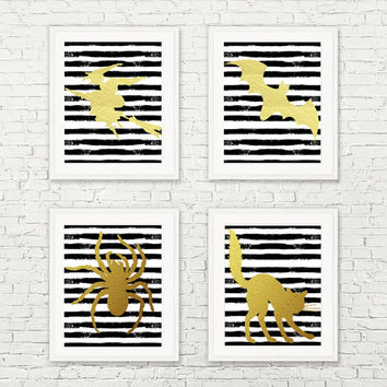 8x10 Halloween Printable Wall Art faux gold foil set black and white art halloween poster art stripe art print INSTANT DOWNLOAD