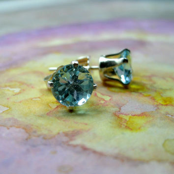 Swiss Blue Topaz Sterling Silver Stud Earrings, SALE! 2 LEFT!