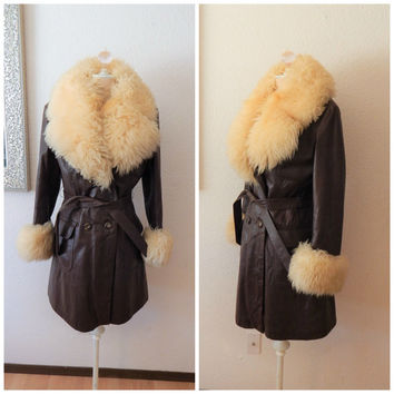Vintage 70s Penny Lane Brown Cream Leather Fur Huge Collar Hippie Jacket Coat Small