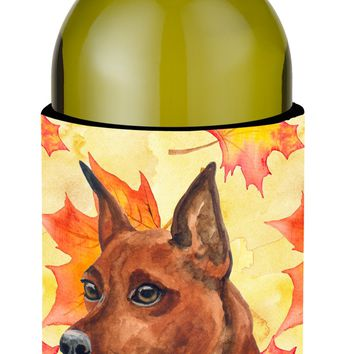 Miniature Pinscher Fall Wine Bottle Beverge Insulator Hugger BB9917LITERK