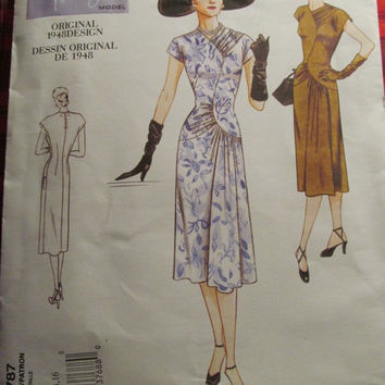 SALE Uncut Vogue Sewing Pattern, 2787! 12-14-16 Medium/Large/Women's/Misses, 1940's retro Dress/Cocktail Dress/Short Sleeve/Aline Dress/Summ