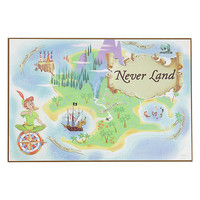 Disney Peter Pan Never Land Map Wood Wall Art