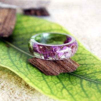 Real Alyssum Flower Ring, Resin Ring, Purple Ring, Resin Jewelry, Nature Ring, Flower Jewelry, Flower Ring, Fairy Ring, Pressed Flowers