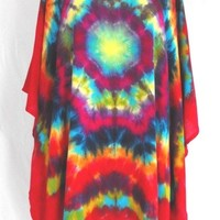 Tie Dye Brilliant Red Mandala Poncho