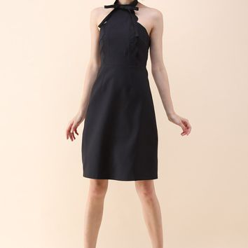 Latest Infatuation Halter Neck Dress in Black