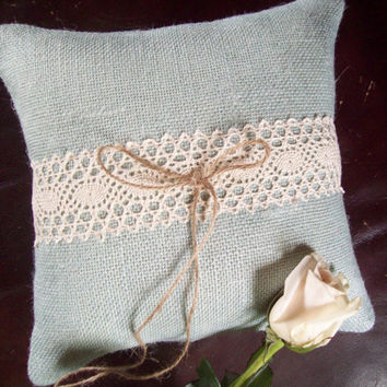 Blue Burlap Ring Pillow - Beach Wedding - Summer Wedding Ring Bearer Pillow