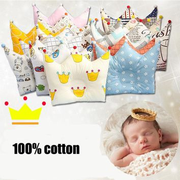 Cotton Baby Pillow Crown Infants Shaping Pillow Cartoon Toddler Kids Positioner Anti Roll Cushion Flat Bebe Head Protection