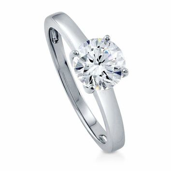 2ct Women's Round Solitaire CZ Sterling Silver Wedding Band Engagement Ring