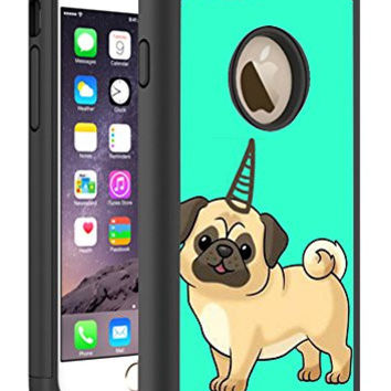 iPhone 6S 6 Case Cover By HybCase Featuring Cute Pugicorn Pug Unicornin Hipster Teal Fun iPhone 6S Cases For Girls Teens Women