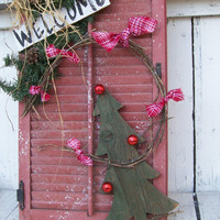 Antique Rustic Farmhouse Shutter. Red Shutter Woodland Natural Sign. Front Porch DIsplay Sign. Christmas Winter