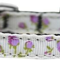 """Roses Nylon Dog Collar with classic buckle 3-8"""" Purple Size 10"""