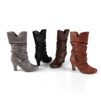 Brinley Co Womens Buckle Accent Slouchy Boot