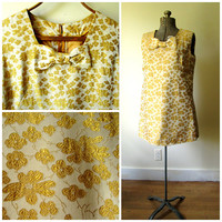 60s gold mini dress with bow, glittery sparkly brocade, sleeveless cocktail evening, formal prom, vintage 1960s, Mad Men mod, plus size