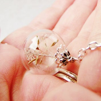 Make A Wish, Real Dandelion Seed Filled Glass Orb Necklace In Silver, Small, Lucky You