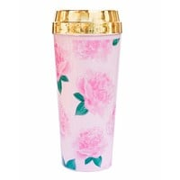 Pretty Pink Peonies Travel Mug with Gold Lid