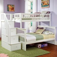 Twin over Full Bunk Bed with Stairway Storage Drawers in White Wood Finish