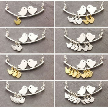 1-8 Kinds love birds necklace Simple Fashion tree branches and bird pendant necklace mothers jewelry Hot selling