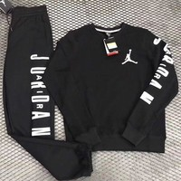 PEAPNW6 Nike Air Jordan Woman Men Fashion Round Neck Top Sweater Pullover Pants Trousers Set Two-Piece