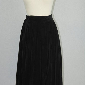 Vintage 1980s Black Velvet Skirt Full Pleated