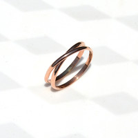 Pink Gold Infinity Band.  Criss Cross Ring. Unique Wedding Band.