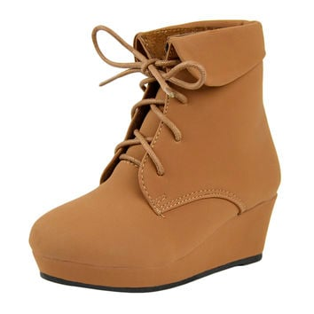 Kids Ankle Boots Lace Up Suede Casual Wedge Shoes Tan SZ