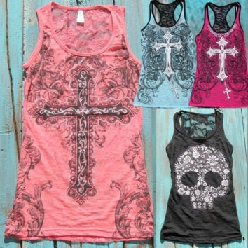 Skull T-shirt sleeveless  lace vest