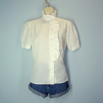 Vintage White Blouse / Ruffled Blouse / 70s White Shirt / Side Ruffle