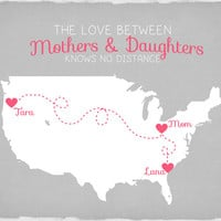 Gift for Mom from Daughters, Long Distance Map 8x10 - Gift for Mother, Step Mom, Custom Map Gift, Christmas Gift, Heart on Locations of Map