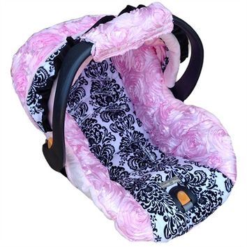 Infant Car Seat Cover in Victoria Rose Pink