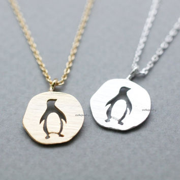 Lovely Cutout Penguin Medal necklace in gold /silver, N0815G