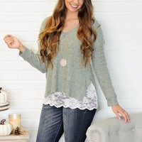 * Jemmy Cozy Sweater With Lace Hem : Sage