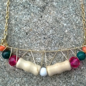 Bright Wood & Glass Beaded Wire Crescent Necklace