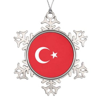 Snowflake Ornament with Turkey Flag