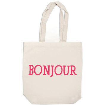 pink bonjour bag - canvas tote bag, canvas bag, BONJOUR french quote, pink tote