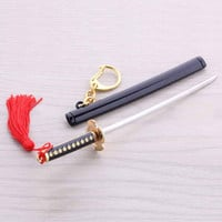 New Anime One Piece Characters Roronoa Zoro Swords Weapon Keychains One-piece Pirates Decoration Key Hanging Chain Key rings