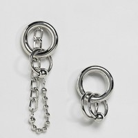 Monki Hoop And Chain Earrings at asos.com