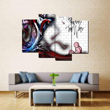 4 Panel Music Pink Floyd The Wall -  Canvas Wall Art Print Picture Poster